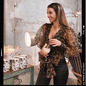 Zara semi sheer organza blouse